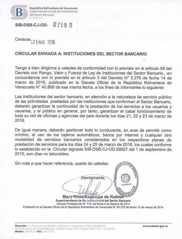 Oficio emitido por la Superintendencia de las Instituciones del Sector Bancario