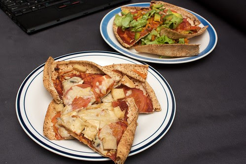 smoked tofu + cheezely pizza (fore) and tomato and lettuce pizza (back)