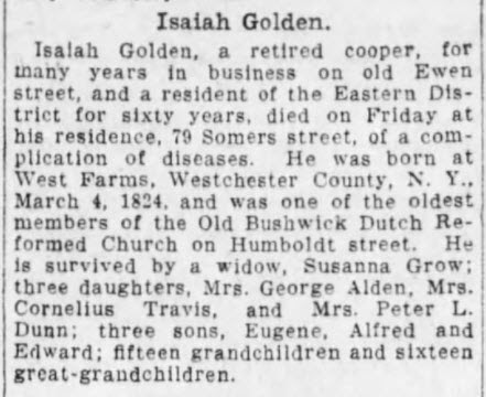 Isaiah Golden – Death Index and Obituary