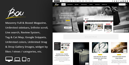 Download Bou = Masonry Review Magazine Blog WordPress Theme nulled | OXO-NULLED