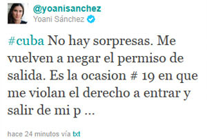 Comentário postado por Yoani Sánchez em seu microblog (Foto: Reprodução/Twitter)