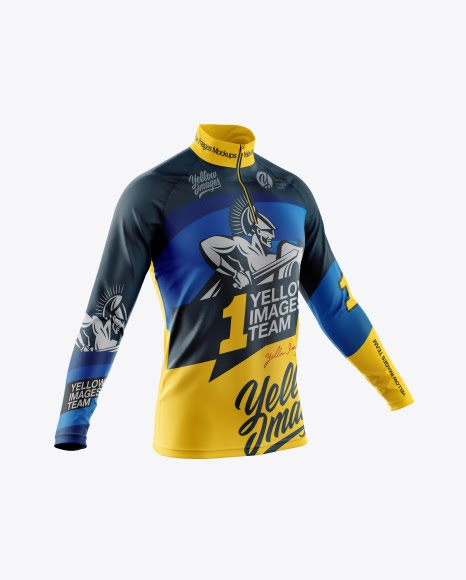 Download Free Men's Cycling Jersey With Long Sleeve Mockup - Half ...