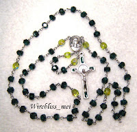 Wire wrapped Rosary with deep emerald faceted crystal rondelles and lime colored Czechs fire polished beads