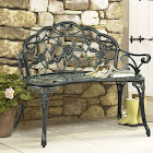 Best Choice Products Cast Iron Floral Rose Garden Bench, Antique Black