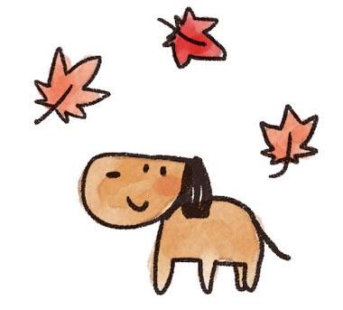 フリー素材 紅葉と犬を描いたイラスト薄く溶いた水彩絵具風の