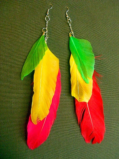 Caribbean colored feather earrings