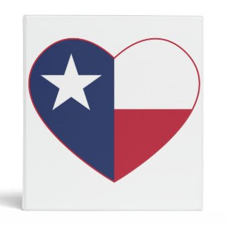 Texas Flag Heart Vinyl Binder