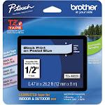 "Brother TZe MQ531 Laminated tape, 0.47"" x 26.2' Roll, Black on pastel blue"