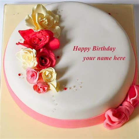 rose flowers happy birthday cake images name editor