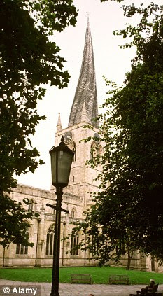 Sex change: Man from Chesterfield, 22, chopped off his own testicles. Pictured is the iconic cathedral in the Derbyshire town