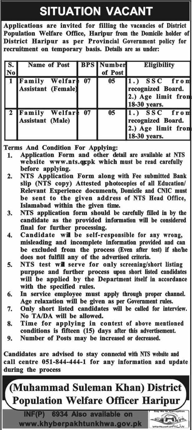 Population Welfare Department Haripur Kp Jobs