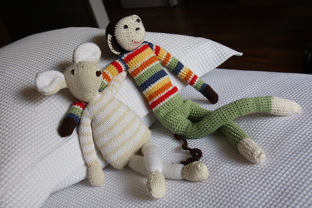 mono y ratón de amigurumi