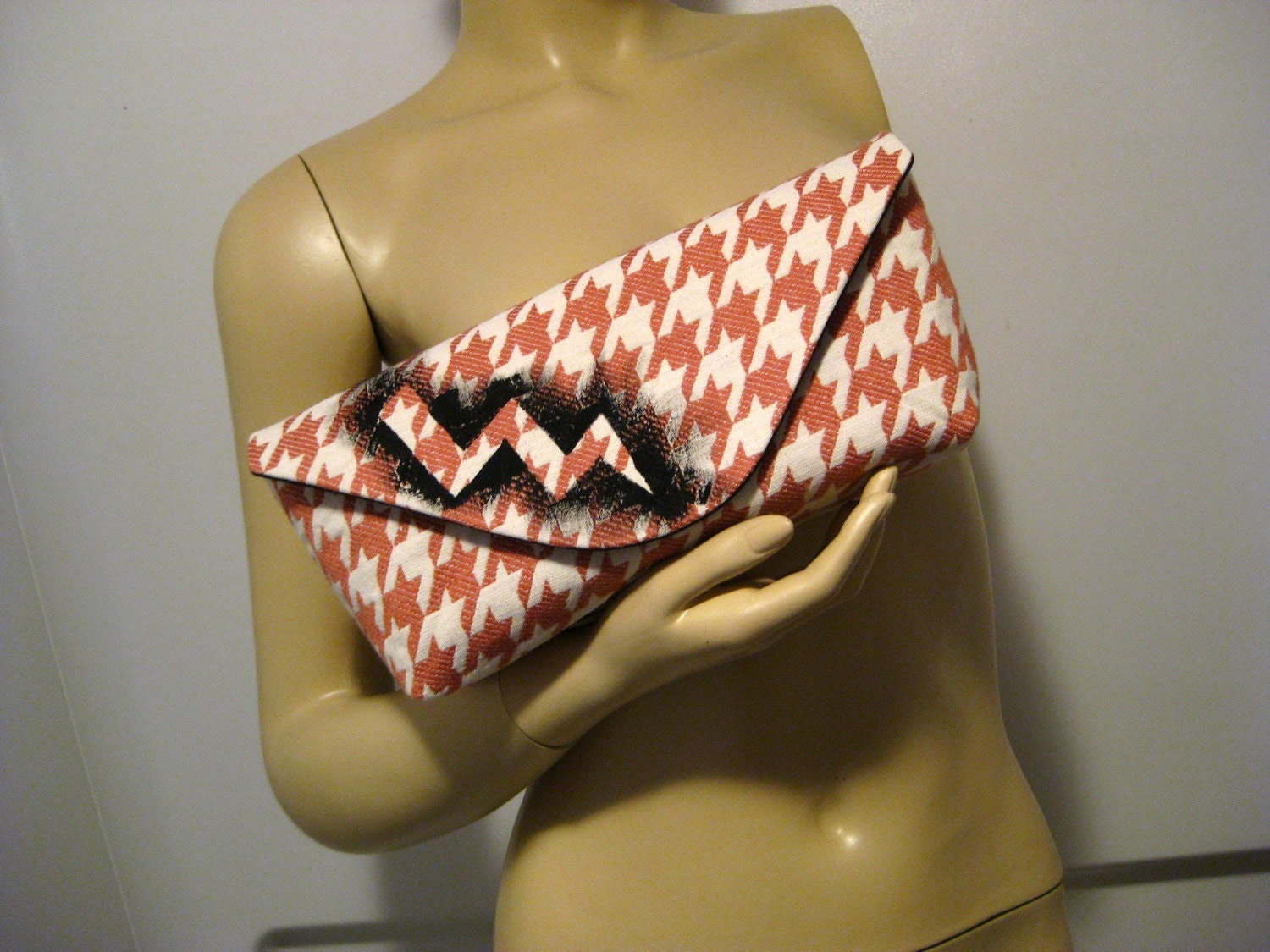"""Hand Painted Lightning Bolt on Upcycled Houndstooth """"A"""" Clutch"""