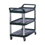 Rubbermaid FG409100BLA Cart, Open, Black, 3 Shelf