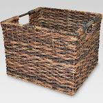 """Wicker Large Milk Crate Dark Brown 11""""x13"""" - Threshold"""
