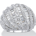 9.79 TCW CZ Platinum-Plated Dome Ring