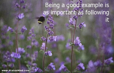 Being A Good Example Is As Important As Following Statusmindcom
