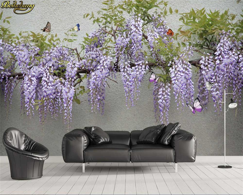 Beibehang カスタム写真の壁紙 3d 藤の花蝶テレビソファ背景の壁の塗装