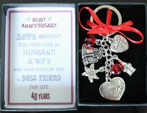 Happy 40th Ruby Wedding Anniversary Gift Keyring Keepsake