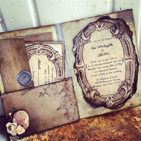 Pocketfold Wedding Invitations Vintage Book Victorian