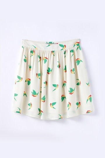Moonbasa Cute Bird Print Mini Skirt