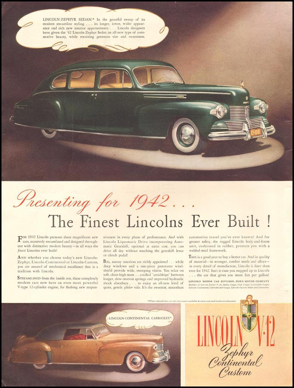 LINCOLN AUTOMOBILES LIFE 09/29/1941 INSIDE FRONT