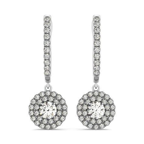 Round Double Halo Style Diamond Drop Earrings in 14k White