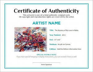 Certificate of Authenticity sample 300x232