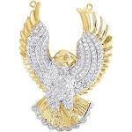 10K Yellow Gold Diamond Mid-Flight Eagle Pendant Widespread Wings Charm 0.82 Tcw