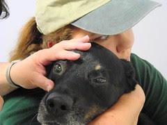 Holding Nellie in a bear hug