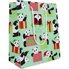 Waste Not Paper Here Comes Panda Claus Holiday Medium Gift Bag 3 Bags