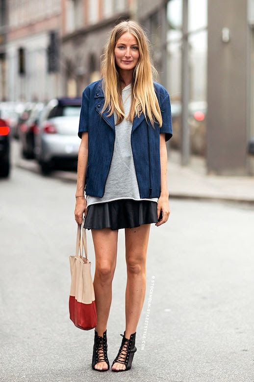 Le Fashion Blog Street Style Long Blonde Hair Navy Short Sleeve Moto Jacket White Tee Color Block Tote Bag Black Mini Skirt Lace Up Heeled Sandals Via Stockholm Streetstyle