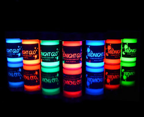 Uv Neon Face Body Paint Glow Kit 7 Bottles 75 Oz Each Top
