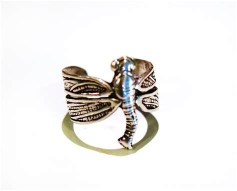 Sterling Silver Dragon Fly Adjustable Ring