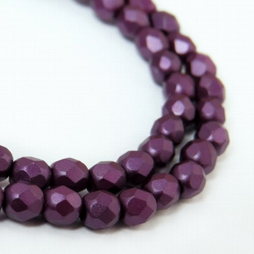 27099000-09 Firepolish - 4 mm Faceted Round - Pearl Pastel Purple (strand 45)