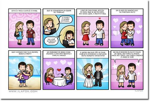 convite personalizado, convite em tirinhas, convite de história, caricaturas para casamentos, ila fox