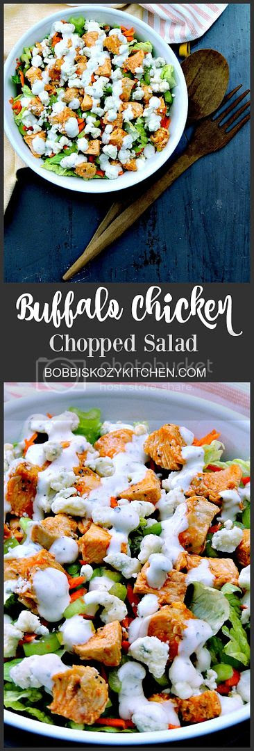Buffalo Chicken Chopped Salad - Trying to eat lighter doesn't mean you have to forgo your favorite foods. It just takes a little imagination. This salad provides all of those Buffalo Chicken Wing flavors, without the extra calories! From www.bobbiskozykitchen.com