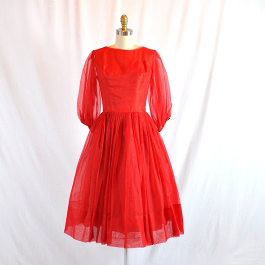 Vintage 50s Red Chiffon Cocktail Dress  by RetroThreadzVintage