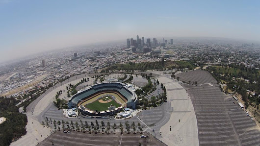 Aerial Drone Photography over Dodger Stadium and Los Angeles - Flight Sight Footage