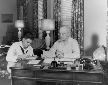 President Truman working at his desk