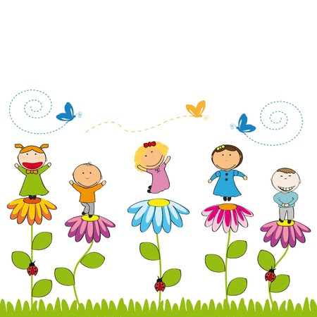 Small and smile kids with flowers in garden Stok Fotoğraf - 12976715