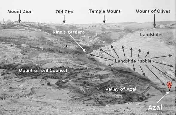 [Photo taken by a member of the American Colony in Jerusalem in the early part of the the twentieth century, showing Jerusalem, the southwestern part of the landslide on the Mount of Corruption, and landslide rubble touching the valley of Azal.]