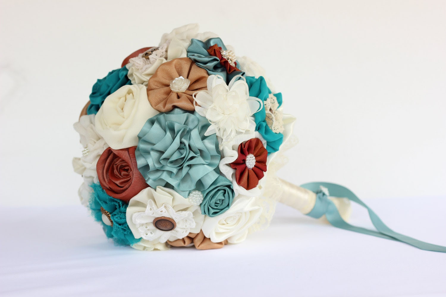 Resereved- Fabric Bridal Bouquet, Wedding Fabric Bouquet DEPOSIT, teal copper bouquet