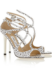 Lang printed patent-leather sandals