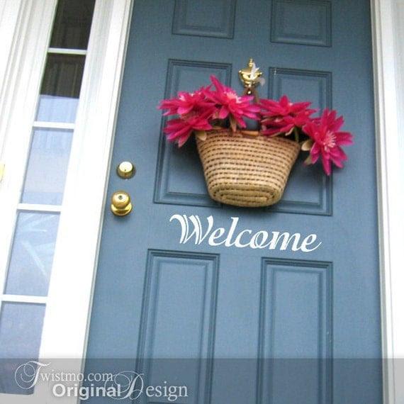 Welcome Sign Door Decal - Vinyl Wall Decal, Front Door Decoration, Door Sticker