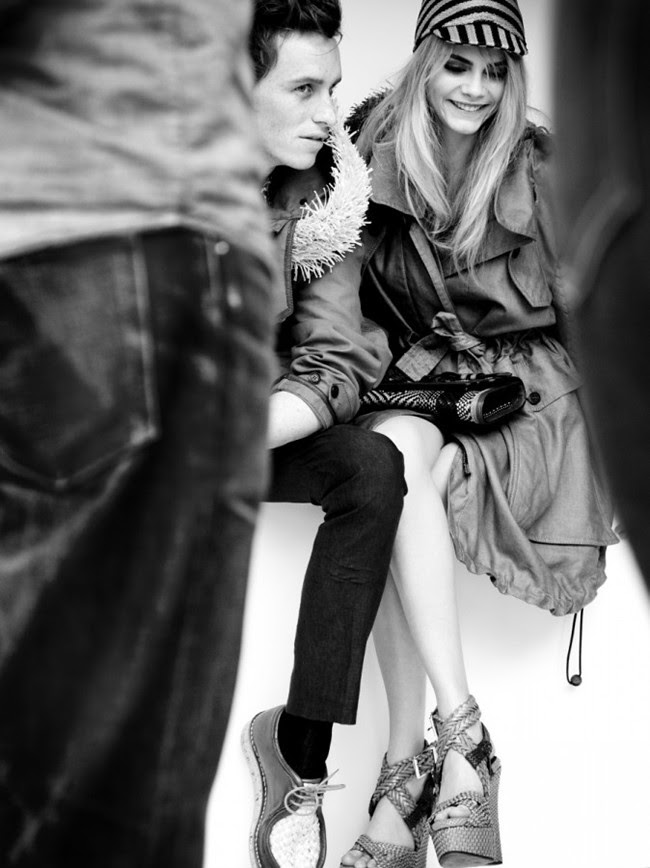 Eddie Redmayne and Cara Delevingne behind the scnenes at the Burberry Spring Summer 2012 ad campaign2