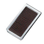 PVC Snake Skin Pattern Chrome Plated Metal Money Clip in Brown