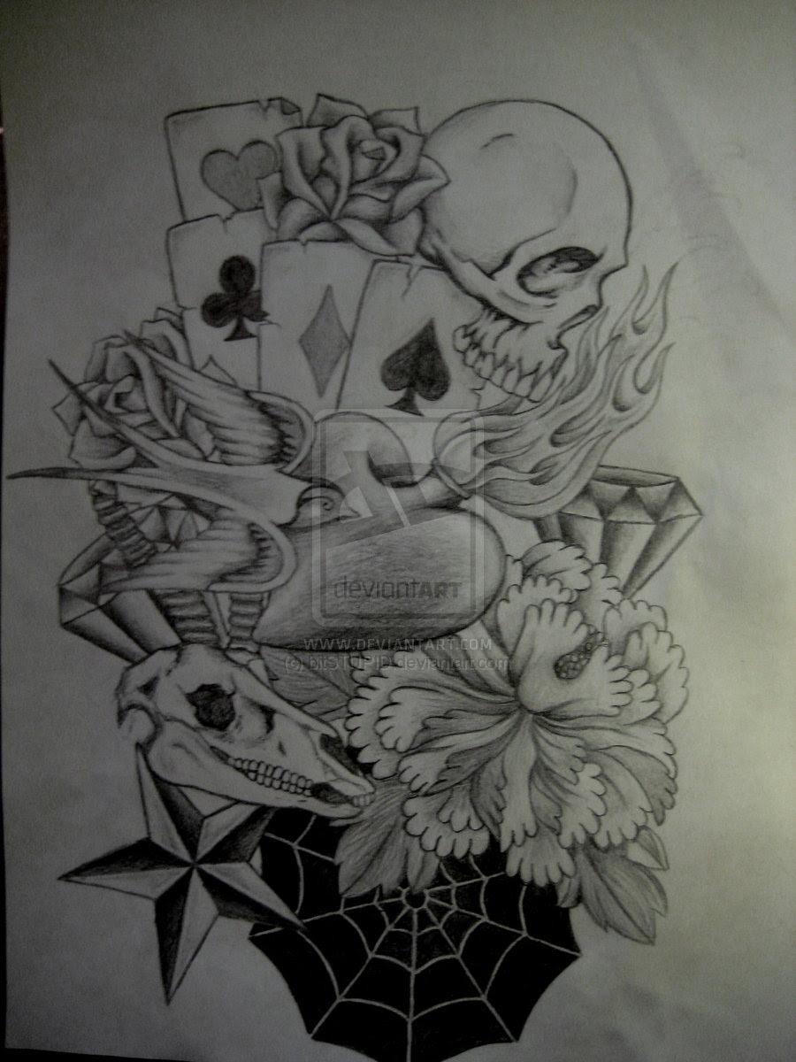 Skull And Flowers Half Sleeve Tattoo Design