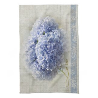 Romantic Blue Hydrangeas Kitchen Towels