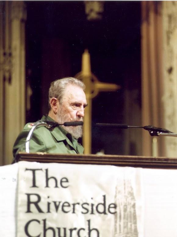 Fidel en la Iglesia Riverside, en Harlem, el 8 de septiembre de 2000. foto: Estudios Revolución